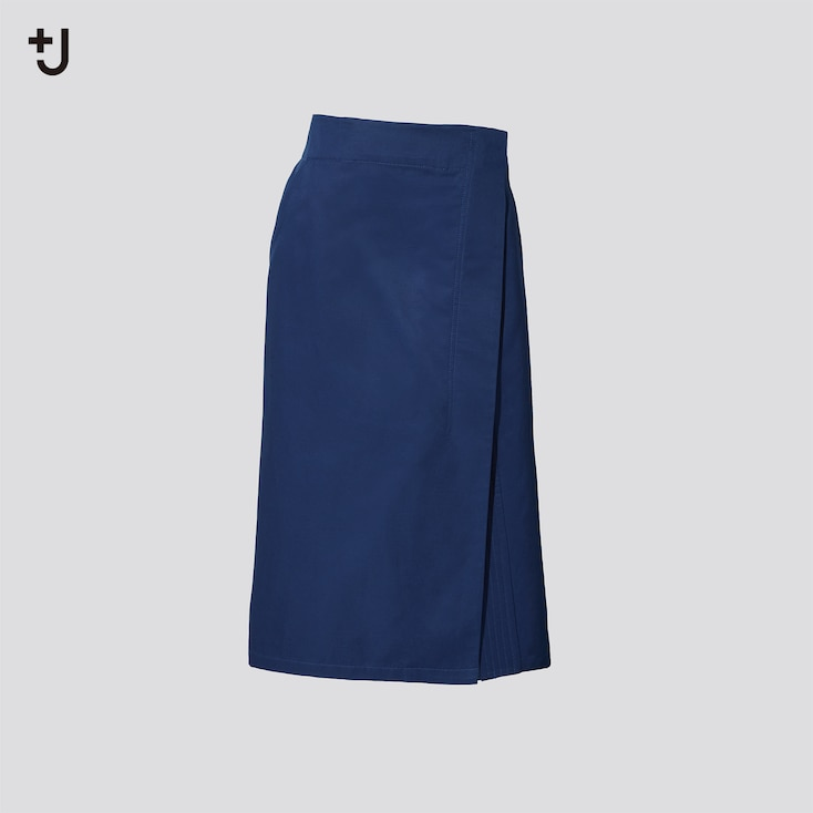Women +J Linen-Cotton Wrap Skirt, Blue, Large