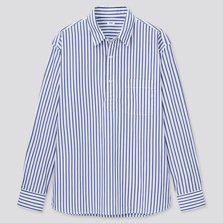 Men Extra Fine Cotton Broadcloth Regular Fit Striped Pullover Shirt
