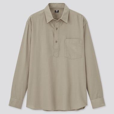 Men Soft Twill Pullover Long-Sleeve Shirt, Beige, Medium