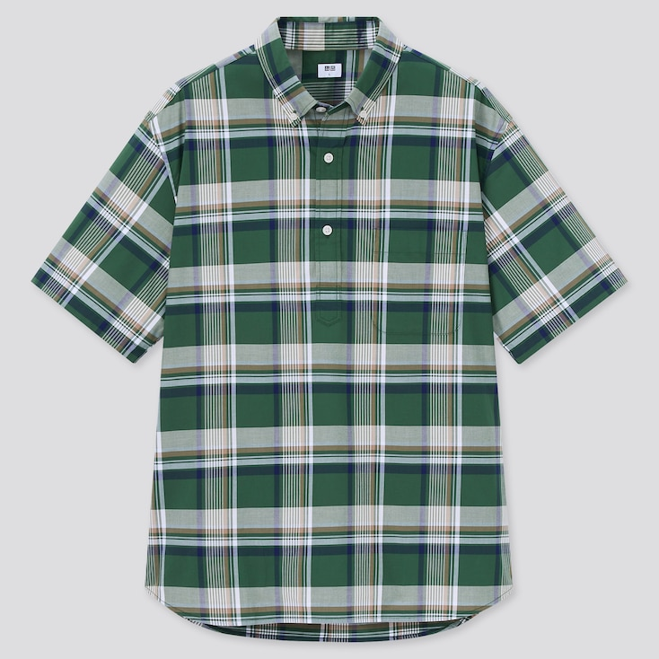 Men Extra Fine Cotton Broadcloth Short-Sleeve Shirt, Green, Large