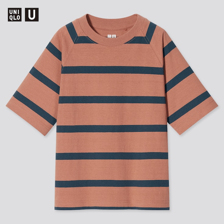 Kids U Striped Short-Sleeve T-Shirt, Orange, Large