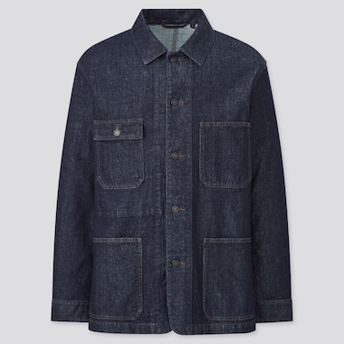 Men Washed Denim Utility Jacket
