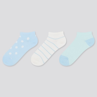 Girls Short Socks (3 Pairs), Light Blue, Medium