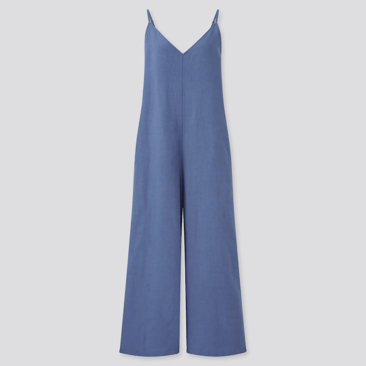 Women Linen-Blend V-Neck Camisole Jumpsuit, Blue, Large