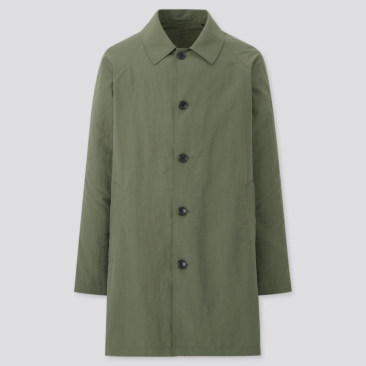 Men Pocketable Half Coat, Olive, Large