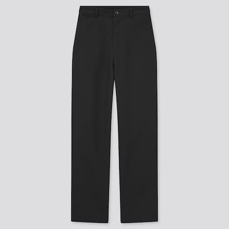 Women Linen Blend Relaxed Fit Straight Leg Trousers (Long)