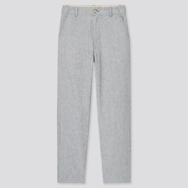 Women Linen Cotton Blend Striped Tapered Fit Trousers