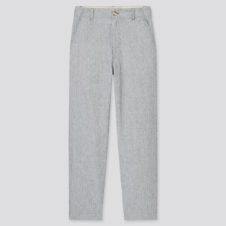 Women Linen Cotton Tapered Pants, Gray, Large