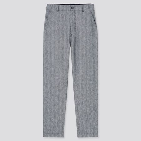 Pantaloni Lino Misto Cotone A Righe Affusolati Donna