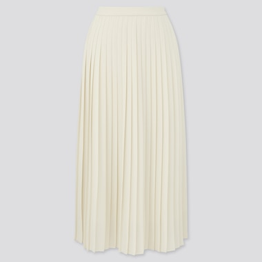 Women Chiffon Pleated Midi Skirt (Online Exclusive), Off White, Medium