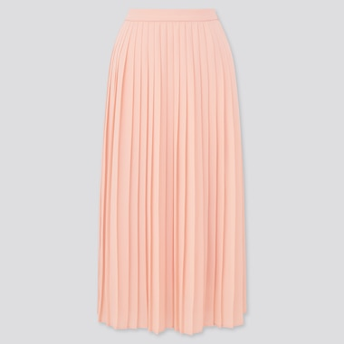 Women Chiffon Pleated Midi Skirt (Online Exclusive), Pink, Medium