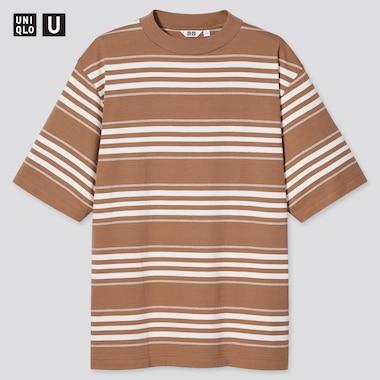 U Striped Crew Neck Short-Sleeve T-Shirt, Beige, Medium