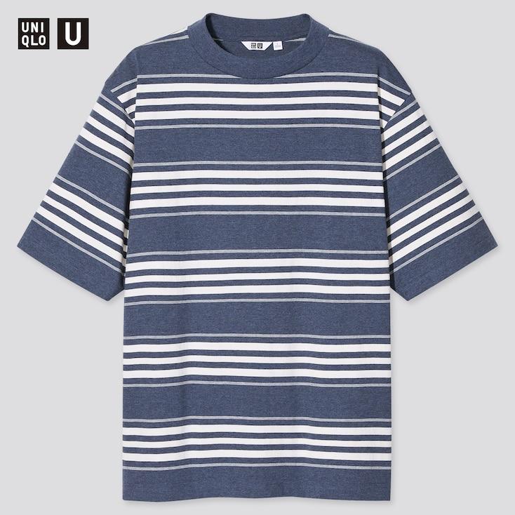 U Striped Crew Neck Short-Sleeve T-Shirt, Blue, Large