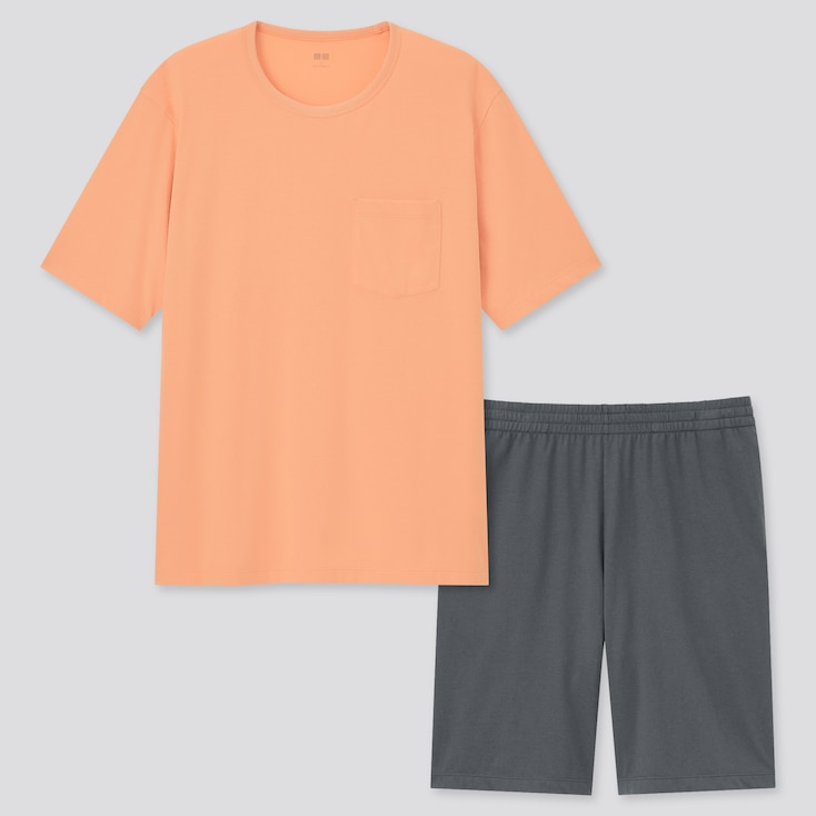 Men Airism Cotton Short-Sleeve Lounge Set, Orange, Large