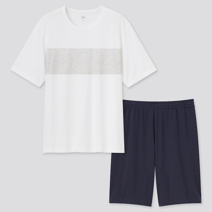Men Airism Cotton Short-Sleeve Set, White, Large