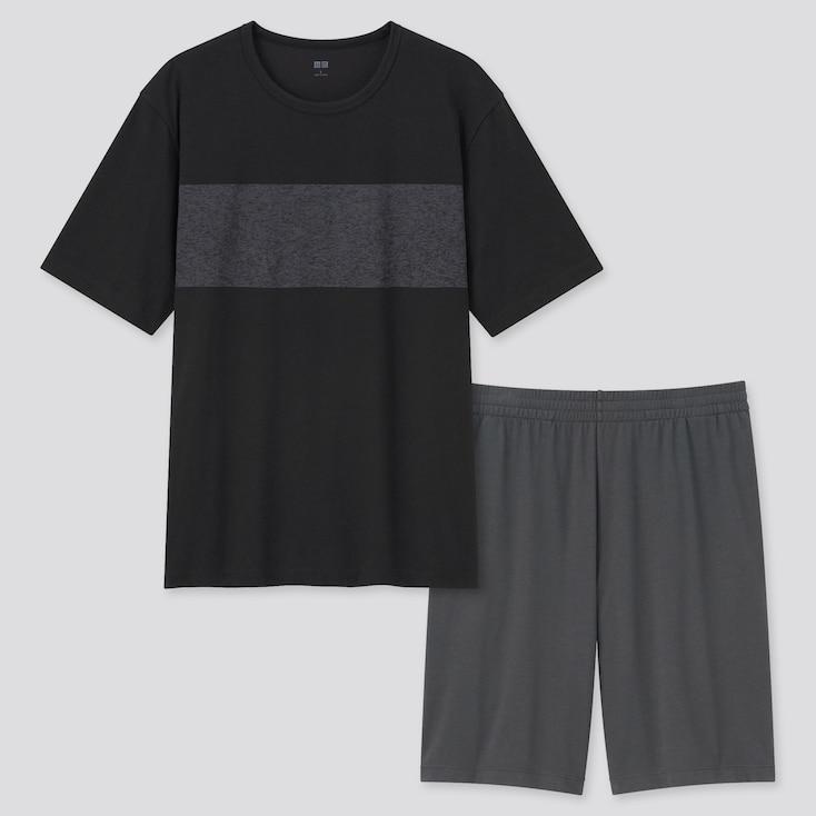 Men Airism Cotton Short-Sleeve Set, Black, Large