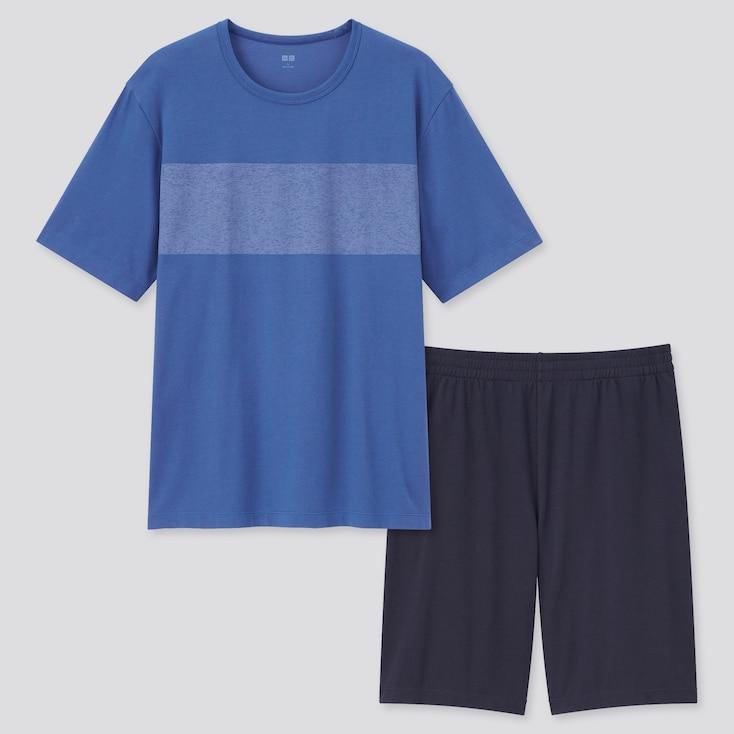 Men Airism Cotton Short-Sleeve Set, Blue, Large