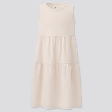 Girls Smooth Cotton Tiered Sleeveless Dress