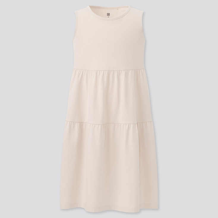 Girls Smooth Cotton Tiered Sleeveless Dress, Off White, Large