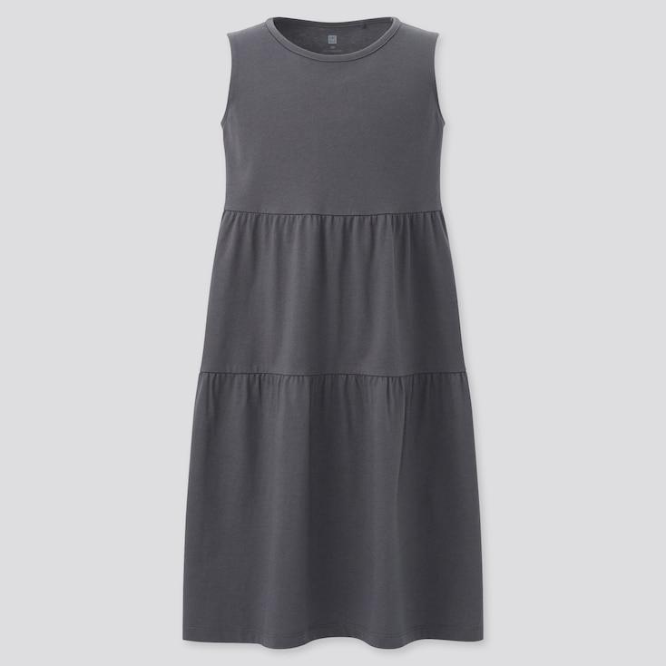 Girls Smooth Cotton Tiered Sleeveless Dress, Gray, Large