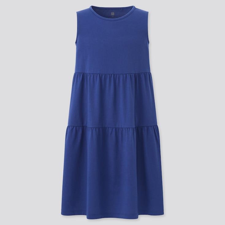 Girls Smooth Cotton Tiered Sleeveless Dress, Blue, Large