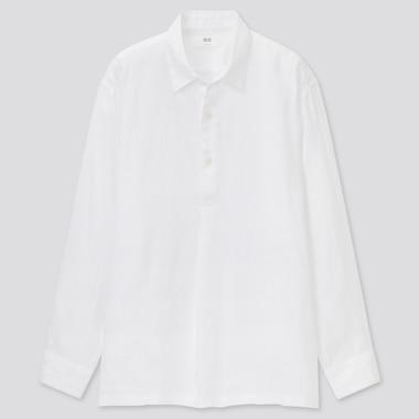 Herren 100% Premium Leinen Hemd mit halber Knopfleiste