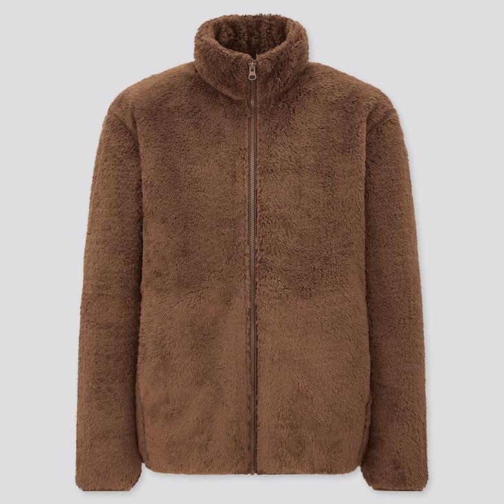 Men Fluffy Yarn Fleece Full-Zip Jacket, Brown, Large