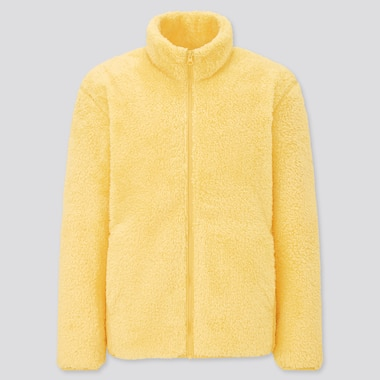 Men Fluffy Yarn Fleece Full-Zip Jacket, Yellow, Medium