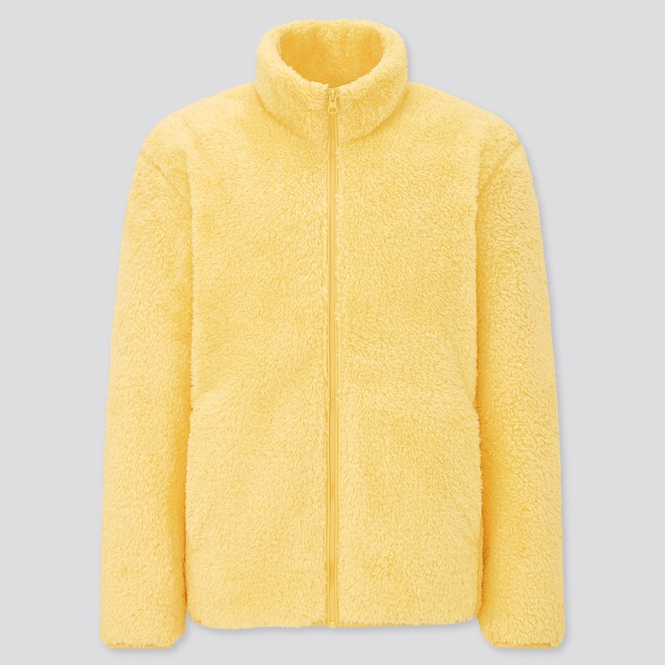 Men Fluffy Yarn Fleece Full-Zip Jacket, Yellow, Large