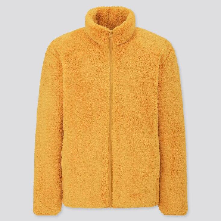 Men Fluffy Yarn Fleece Full-Zip Jacket, Yellow, Large