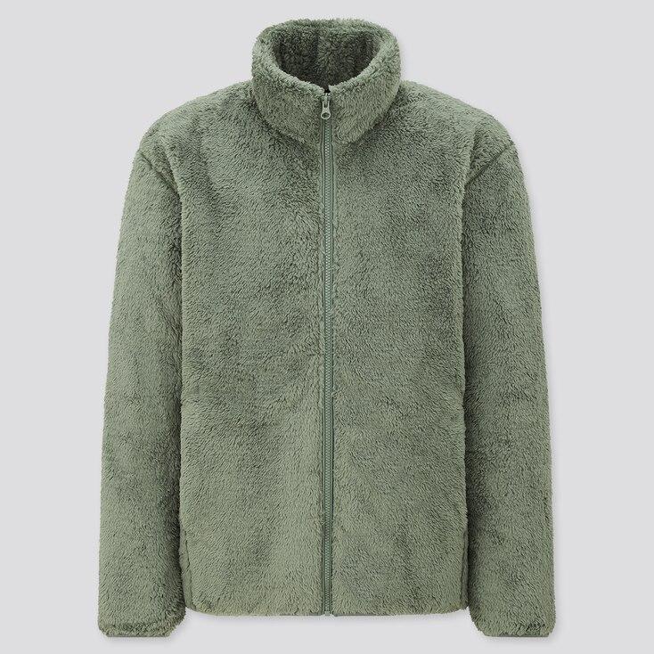 Men Fluffy Yarn Fleece Full-Zip Jacket, Green, Large