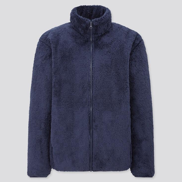 Men Fluffy Yarn Fleece Full-Zip Jacket, Blue, Large