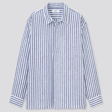 Herren Gestreiftes 100% Premium Leinen Hemd mit halber Knopfleiste