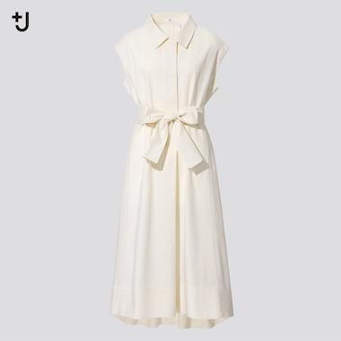 Damen +J Langes Leinen Baumwoll Kleid mit kurzen französischen Ärmeln