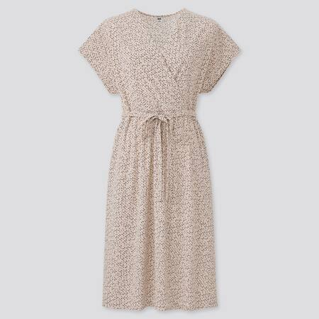Damen Kurzärmliges gemustertes Krepp Jersey Wickelkleid