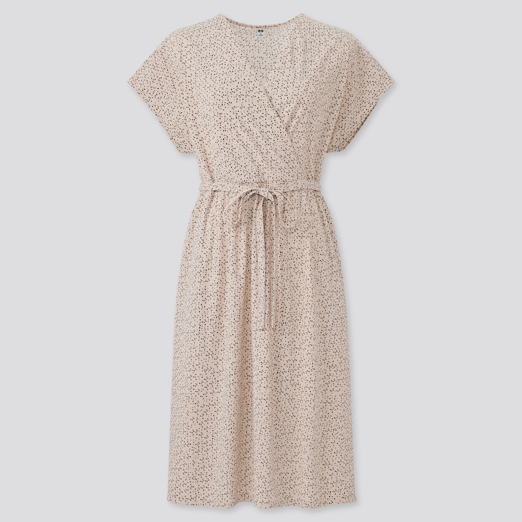 Women Crepe Jersey Short-Sleeve Wrap Dress, Natural, Large