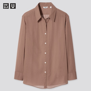 Women Uniqlo U Sheer Striped Long Sleeved Shirt