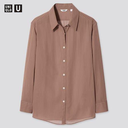 Damen UNIQLO U Gestreifte transparente Bluse