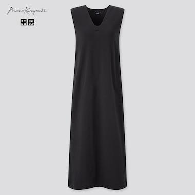 Women Airism Cotton Sleeveless Bra Dress (Mame Kurogouchi), Black, Medium