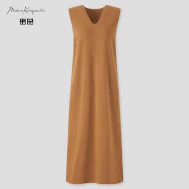 Women Airism Cotton Sleeveless Bra Dress (Mame Kurogouchi), Brown, Medium