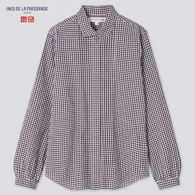 Women Ines Cotton Lawn Checked Long Sleeved Shirt