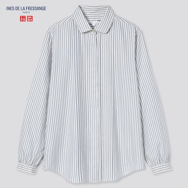 Women Cotton Twill Striped Pintuck Long-Sleeve Shirt (Ines De La Fressange), Off White, Medium