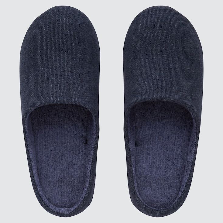 Rubber-Soled Slippers, Navy, Large