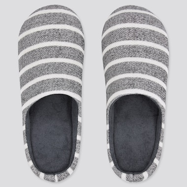 Striped Rubber-Soled Slippers, Dark Gray, Medium