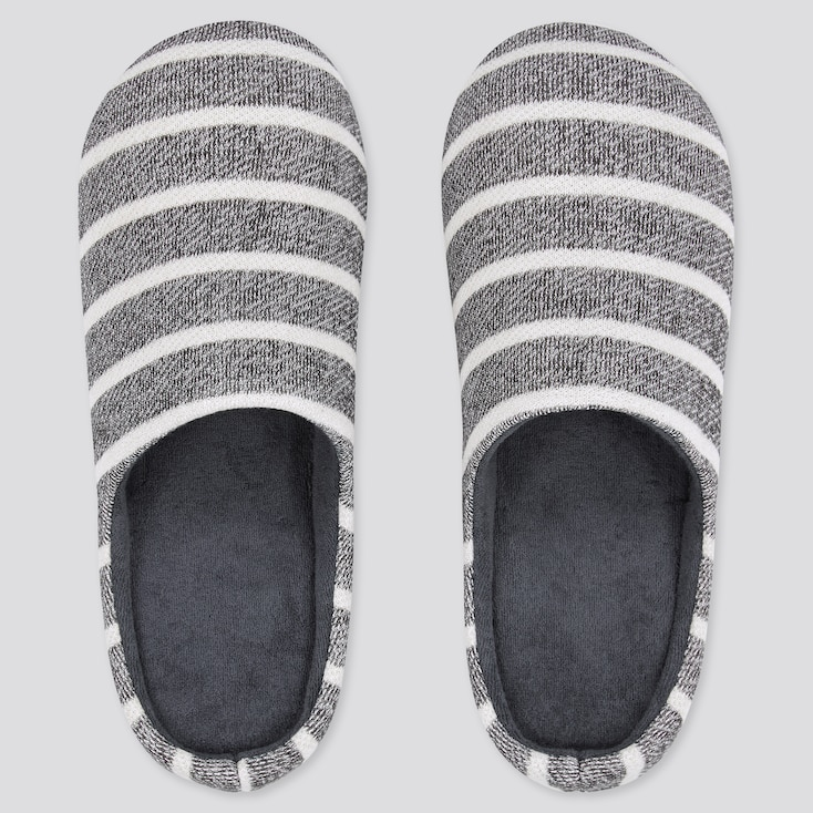 Striped Rubber-Soled Slippers, Dark Gray, Large