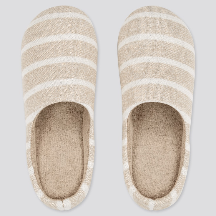 Striped Rubber-Soled Slippers, Beige, Large