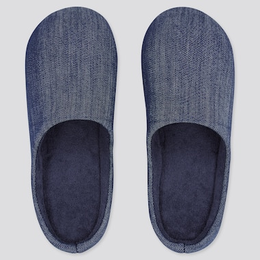 Denim Rubber-Soled Slippers, Blue, Medium