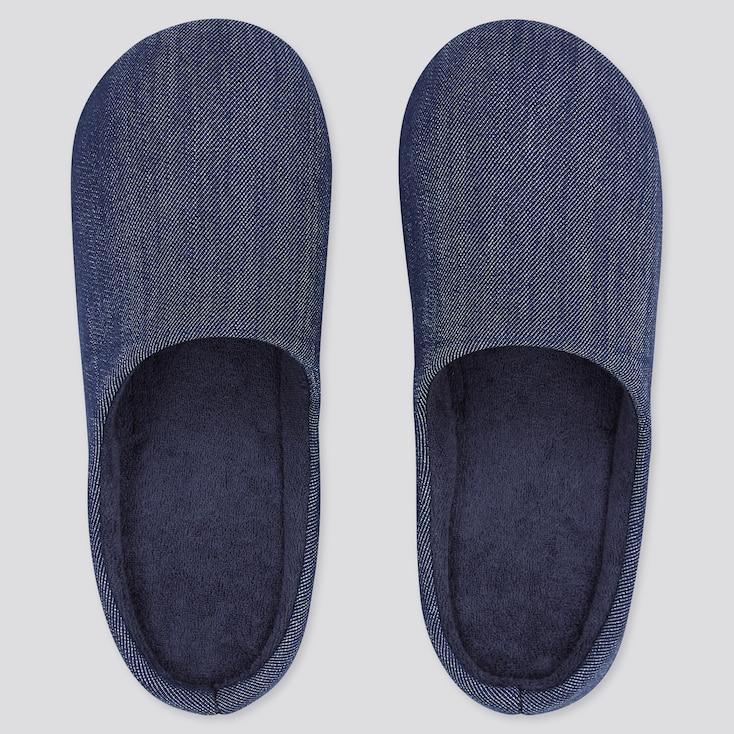Denim Rubber-Soled Slippers, Blue, Large