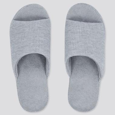 Waffle Open-Toe Slippers, Gray, Medium