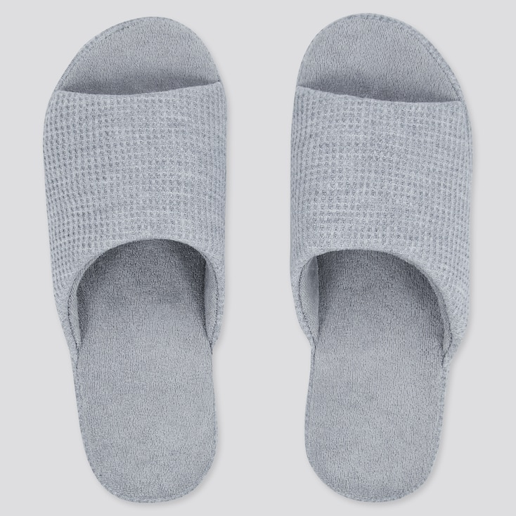 Waffle Open-Toe Slippers, Gray, Large